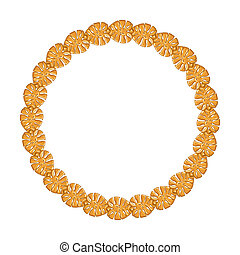 round frame - gold chain on the white background.