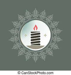 Round frame in the form of a snowflake with a silhouette of a burning candle.