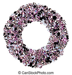 Round frame made from many small purple diamonds, isolated on white