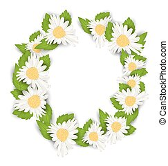Round Frame Made in Chamomile Flowers