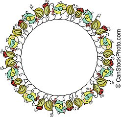 Round frame made of birds and leaves