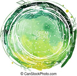 Round frame made of floral branches on Watercolor background