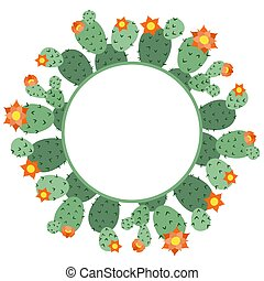 Round frame made of green cactus with flowers