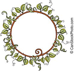 Round frame made of green leaves