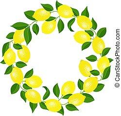 Round frame made of lemons