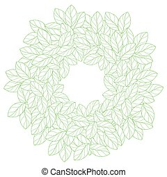 Round frame made of linear leaves