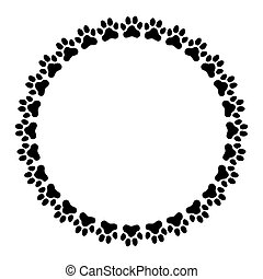 Round frame made of paw prints.
