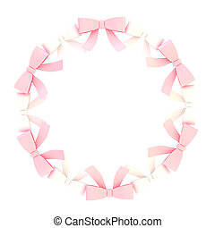 Round frame made of ribbon bows - Round empty copyspace...