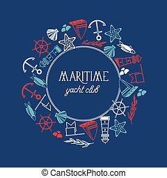 Round Frame Maritime Yacht Club Poster