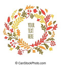 Round frame of autumn leaves. Autumn, leaves, wreath.  Vector illustration
