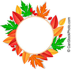 Round frame of autumn leaves