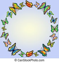Round frame of bright butterflies on a gentle blue background,