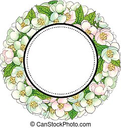 Round frame of cherry blossom branches