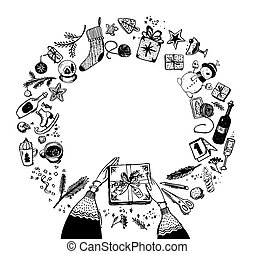 Round frame of Christmas and New Year elements. Doodle sketch, hand drawing.