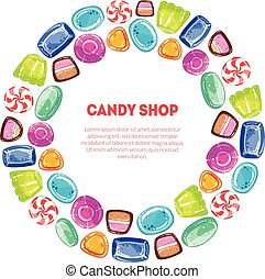 Round Frame of Colorful Sweetmeats, Candy Shop Design Element Vector Illustration