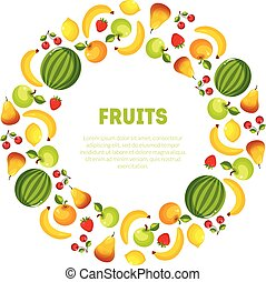 Round Frame of Different Fresh Vegetables and Fruits Vector Illustration