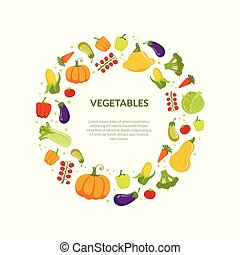 Round Frame of Different Fresh Vegetables Vector Illustration