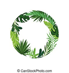 Round frame of leaves. Vector illustration on white background.