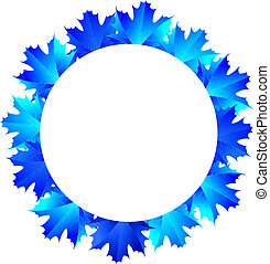 round frame of the blue maple leave