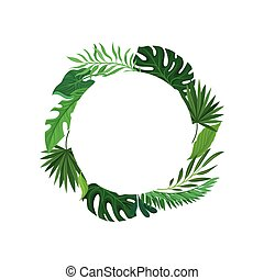 Round frame of tropical leaves. Vector illustration on white background.