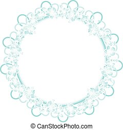 Round frame of watercolor blue flowers