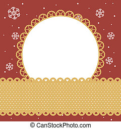round frame on red background