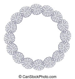 round frame - silver chain on the white background.