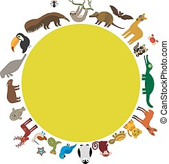 Round frame. Sloth anteater toucan lama bat seal armadillo boa manatee monkey dolphin Maned wolf raccoon jaguar Hyacinth macaw lizard turtle crocodile deer penguin Blue-footed booby Capybara. Vector