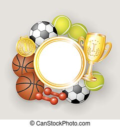 Round frame, sport balls, dumbbells, medal and cup - Round...