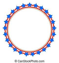Round frame stylized American flag