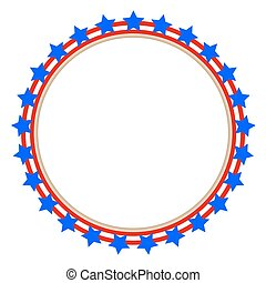 Round frame stylized American flag