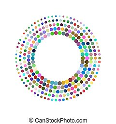 Round frame with colorful mosaics. Circle design element....