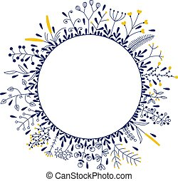 round frame with beautiful flowers
