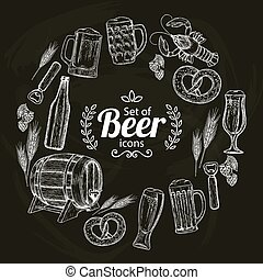 Round frame with beer icons on black background