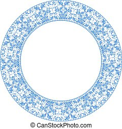 Round frame with blue flowers in Gzhel style isolated on white b