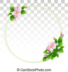 Round frame with cherry blossoms. Spring season concept. Pink flowers with leaves. Flower arrangement. greeting cards, flyers, web. Eps10 Vector