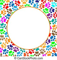 Round frame with colorful paw prints animal with blank space...