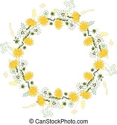 Round frame with contour dandelions and herbs on white