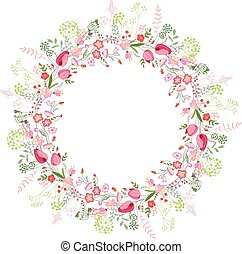 Round frame with contour tulips and stylized roses on white