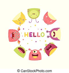 Round frame with cute funny inquisitive monsters - Round...