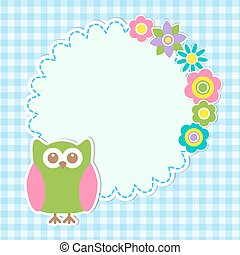 Round frame with cute owl and flowers