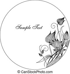 Round frame with decorative branch. Hand drawn.
