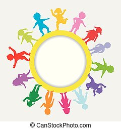Round frame with doodle children