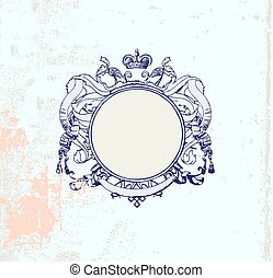 frame - round frame with floral ornament and crown. Grunge...