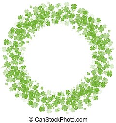 Round frame with fourleaf clover. St.Patrick s Day.