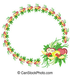Round frame with fruits ,vector.