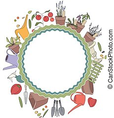 Round frame with gardening tools and plants. Herbs, vegetables and accessories for farming