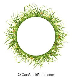 Round frame with grass and flowers
