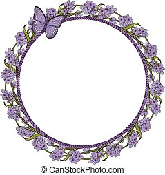 Round frame with lavender flowers and butterfly.