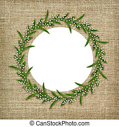 Round frame with lily of the valley flowers isolated on...